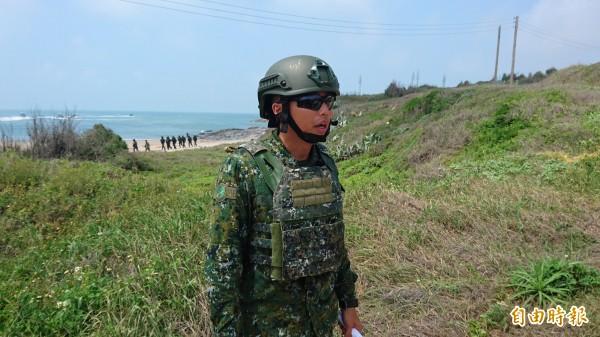 兩棲營偵一連上尉連長朱程楠。(記者羅添斌攝)
