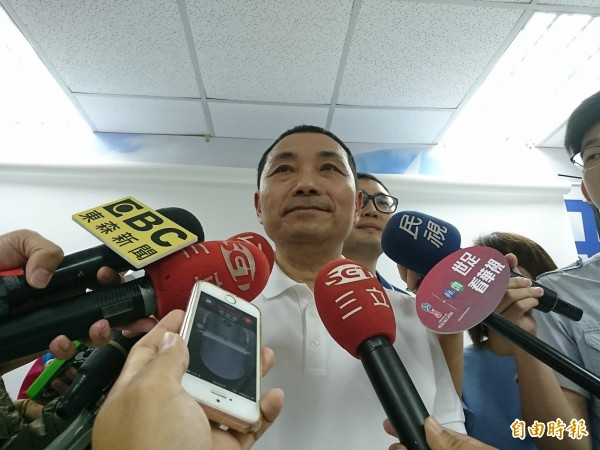 侯友宜今天說,他一定會讓國家電影文化中心在他任內完成。(記者何玉華攝)