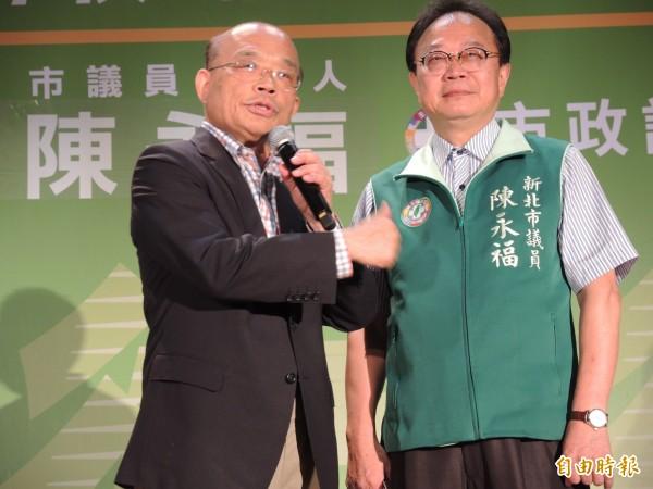 蘇貞昌晚上與陳永福共同舉辦市民座談會。(記者翁聿煌攝)