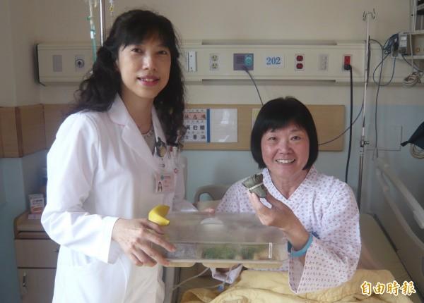 台中榮總設計「一口養生素粽」提供住院患者食用。(記者蔡淑媛攝)