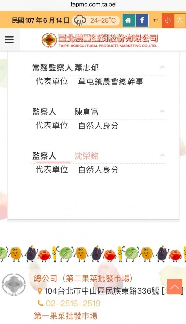 台北市財政局副局長沈榮銘以自然人身分擔任北農監察人。(翻攝自台北農產運銷公司網站)