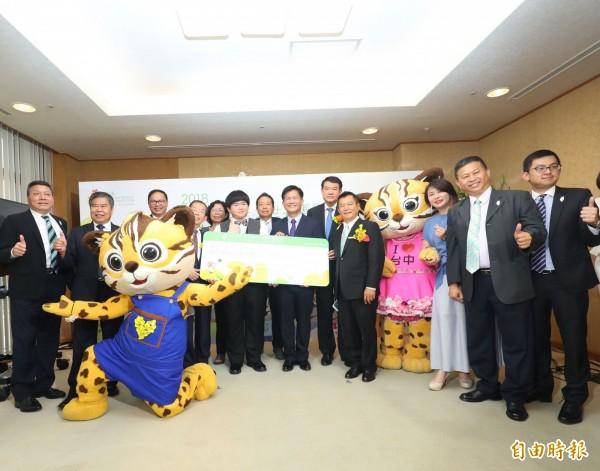 台中市政府在東京成田機場舉辦「台中花博日本宣傳記者會」。(記者黃鐘山攝)