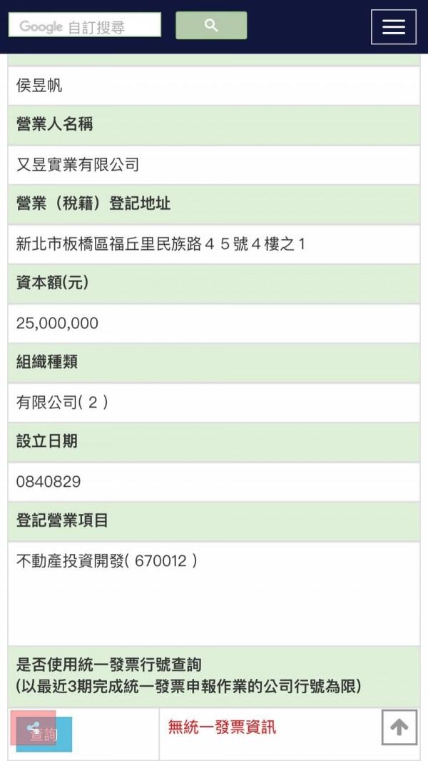 查詢財政部稅務入口網,又昱實業有限公司的登記營業項目為不動產投資開發,最近3期無統一發票資訊。(取自財政部稅務入口網)