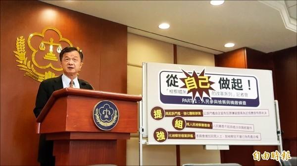 法務部長邱太三今日公布檢察長調動名單。(資料照)