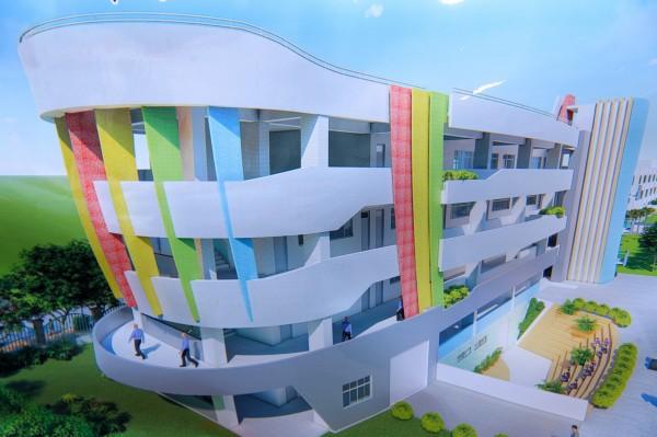 梧棲國小新建校舍規劃以船的造成意象設計。(記者張軒哲翻攝)