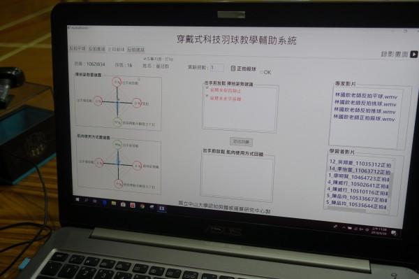 中山大學資訊管理系團隊研發「穿戴式科技羽球教學輔助系統」。(中山大學提供)