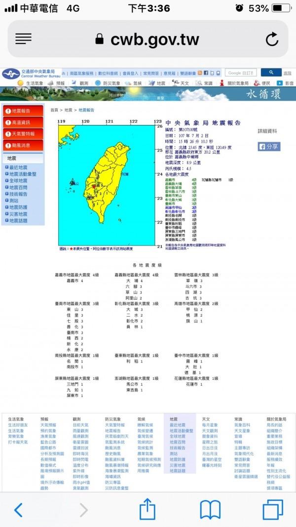 嘉義發生規模4.5震度4級地震。(圖擷取自中央氣象局網站)