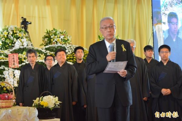 告別式由吳敦義主祭,述說傅兆林生平事蹟,並感念畢生貢獻國家,是台灣第一代土木工程師,見證了台灣的經濟起飛和近代發展。(記者王峻祺攝)
