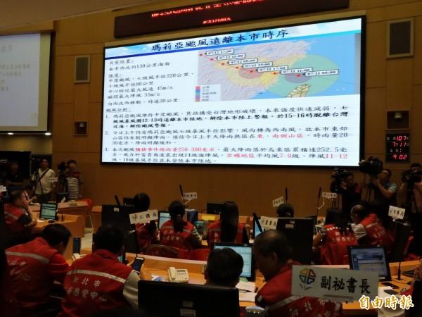 瑪莉亞颱風過境,新北市統計至今天上午,共有123件災情,所幸無人員傷亡。(記者賴筱桐攝)