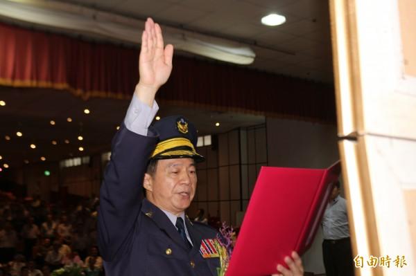新任雲林縣警察局長黃勢清,今天宣誓就職。(記者詹士弘攝)