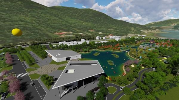 溪洲觀光服務中心暨低碳轉運站的建築物示意圖。(觀旅局提供)