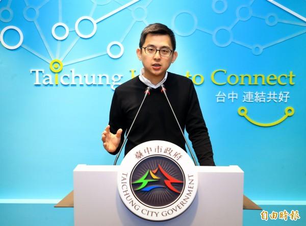 台中市政府新聞局長卓冠廷說,市府將依據東亞青運主辦城市合約及奧會制度,明天正式提出申復。(記者張菁雅攝)