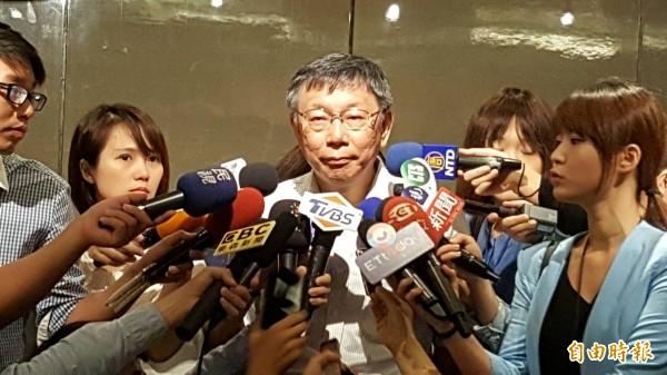 台北市柯文哲上午回應北農事件。(記者楊心慧攝)