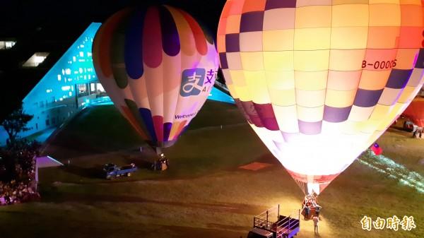 東大熱氣球光雕秀。(記者黃明堂攝)