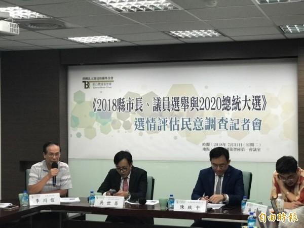 新台灣國策智庫今發布最新民調。(記者彭琬馨攝)