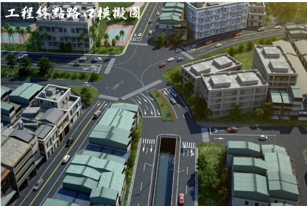 大埔截水溝拓寬道路終點路口的模擬圖。(彰化縣政府提供)