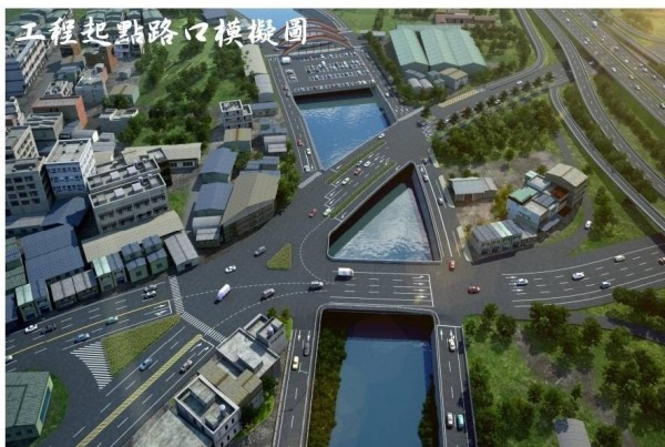 大埔截水溝拓寬道路起點路口的模擬圖。(彰化縣政府提供)