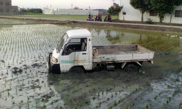 貨車、電動車狹路相逢,貨車直接衝入田裡一起「插秧」犁田。(記者蔡政珉翻攝)