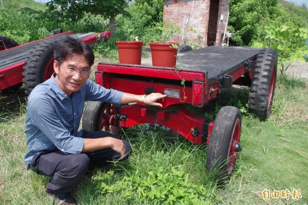 古牛車增加公園奇趣。(記者林國賢攝)