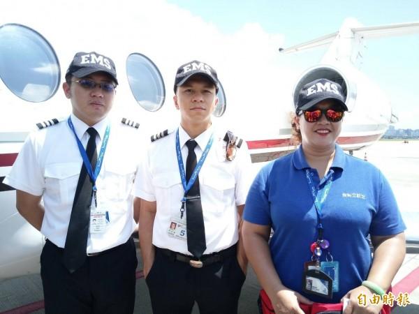 駐地金門的醫療就護航空噴射機,配有專門救護器材、專職護理師。(記者吳亮儀攝)