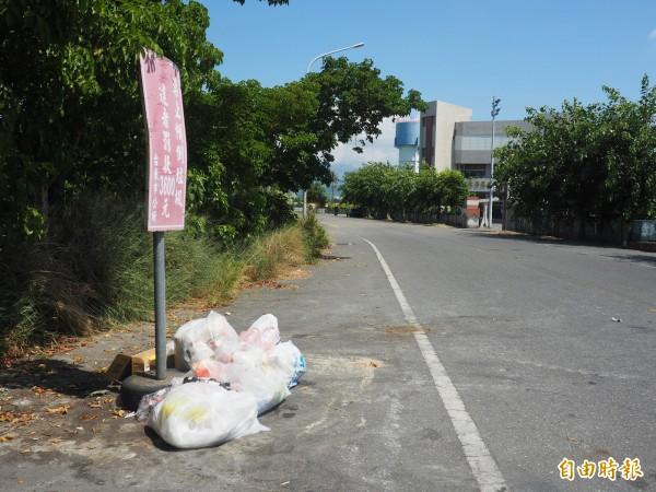 台東市常遭民眾亂丟垃圾的熱點為數不少,造成周邊環境髒亂,附近居民苦不堪言。(記者王秀亭攝)
