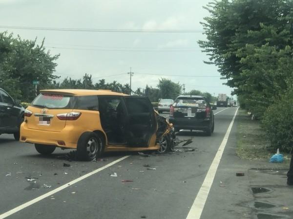省道台1線屏東南州路段,今天中午發生一起車禍。(記者陳彥廷翻攝)