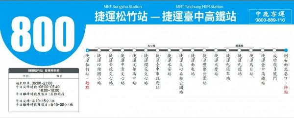 800路公車路線圖。(記者張菁雅翻攝)