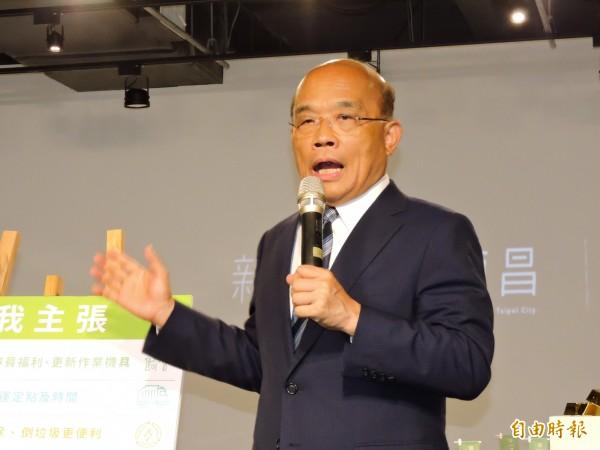 民進黨新北市長參選人蘇貞昌被問到何時與台北市長參選人姚文智同台?蘇貞昌表示,由中央黨部安排,時間他可以配合。(記者賴筱桐攝)