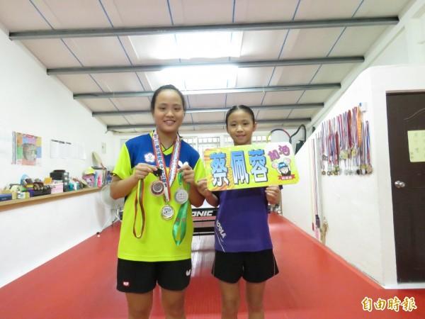 妹妹是蔡佩蓉的忠實粉絲,現在也積極練球,爭取少年國手資格。(記者陳心瑜攝)