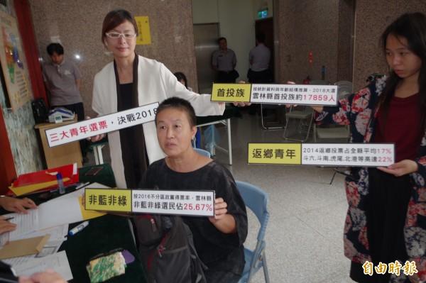 前立委王麗萍登記參選雲林縣長,爭取三大青年選票。(記者林國賢攝)