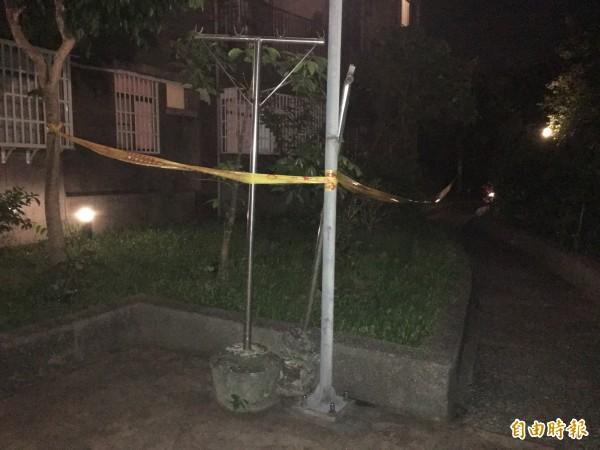 警方在婦人墜樓處拉起封鎖線(記者吳昇儒攝)