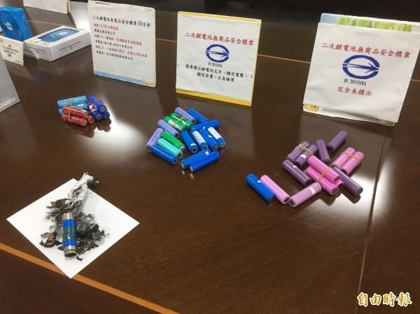 僅3件電池有驗證標識、有12件未經驗證登錄。(記者陳宜加攝)