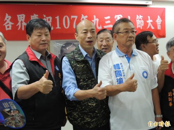 韓國瑜上午參加九三軍人節慶祝活動。(記者王榮祥攝)