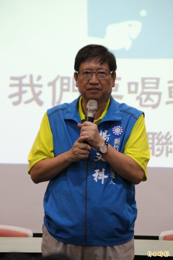 國民黨新竹縣長參選人楊文科允諾,如果當選,他將訂定頭前溪整個污染源的總量管制,且做專管排放工業廢水的可行性評估。(記者黃美珠攝)
