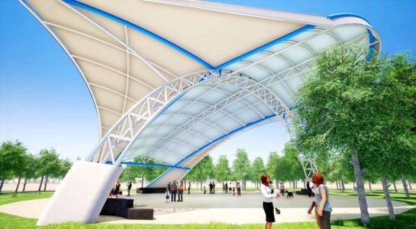 中壢區公15公園將以風箏造型天幕,打造「青埔之翼」的模擬設計圖。(記者李容萍翻攝)