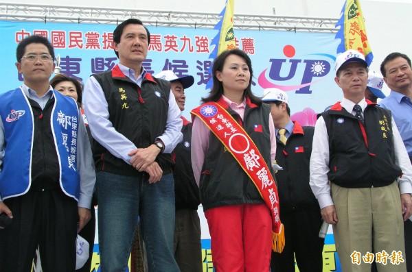 鄺麗貞2006年參選台東縣長補選時,當時的國民黨主席馬英九站台,但這種場合未見吳俊立。鄺麗貞說「很心疼」丈夫被說黑金。(資料照,記者黃明堂攝)