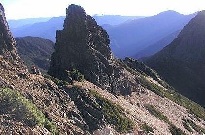 玉山東峰指標性山景「鳳尾岩」一帶,今發生山友攀登跌落山谷的意外。(記者謝介裕翻攝)