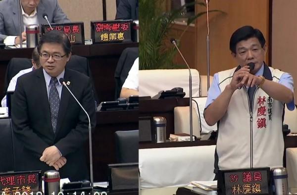 李孟諺(左)答詢說,代理市長已滿一年,他把每一天都當成第一天在做。(記者蔡文居翻攝)