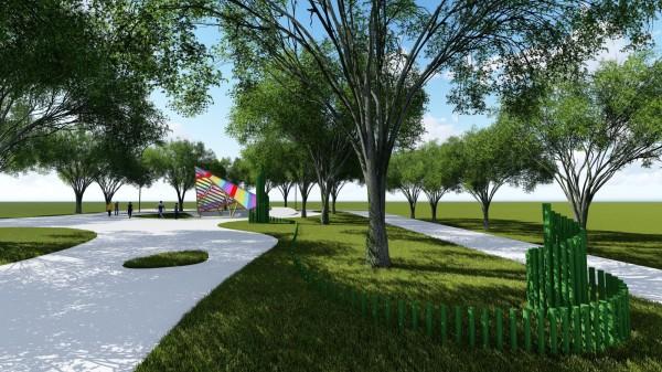 后里森林園區「原生祕境」專區,「Siliq靈鳥的軌跡」裝置藝術示意圖。(台中市原民會提供)