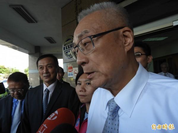 國民黨主席吳敦義呼籲鄺麗貞以大局為重。(記者葛祐豪攝)