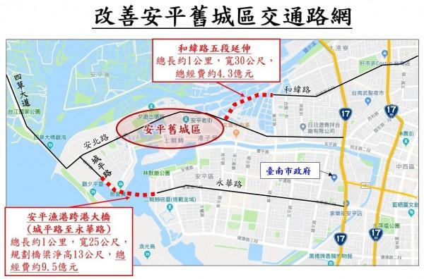 南市改善安平舊城區交通路網計劃示意圖。(南市工務局提供)
