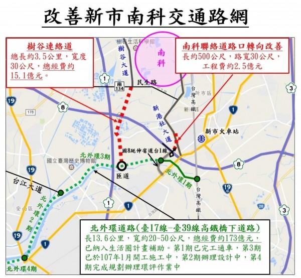 南市改善新市台南科學園區交通路網計劃示意圖(圖由南市工務局提供)。