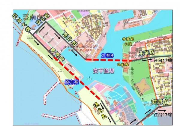 安平港跨海大橋工程,市府評估採取方案B,由永華路跨橋至城平路。(南市工務局提供)