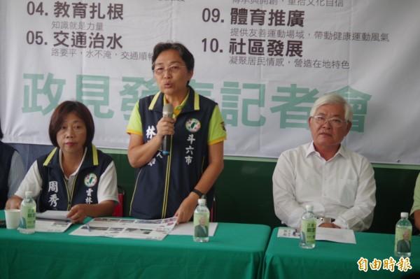 斗六市長參選人林慧如提出榮耀斗六10大政見。(記者林國賢攝)