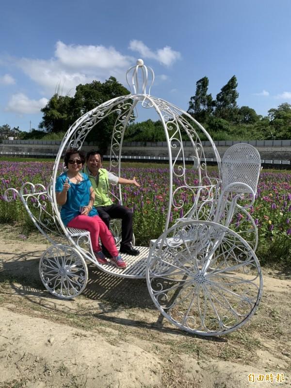花壇鄉三春老樹的紫色麒麟菊盛開,周邊還有裝置藝術,鄉長李成濟(右)歡迎遊客前來賞花。(記者湯世名攝)