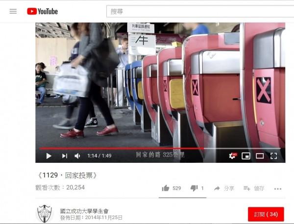 第22屆成功大學學生會在2014年自製影片,鼓勵青年返鄉投票,卻被網友抄襲,拿去剪輯成高雄市長參選人韓國瑜的競選影片。(取自成大學生會youtube頻道)