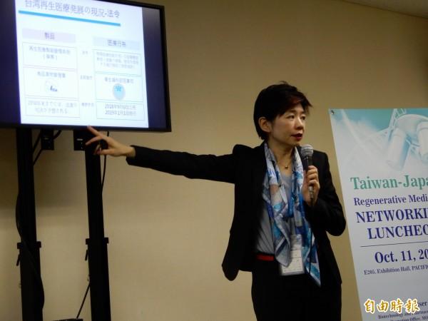 財團法人台灣醫界聯盟基金會的執行長林世嘉看好再生醫療,很有潛力像半導體製程設備一樣發展成一項驚人的產業鏈。(記者林翠儀攝)