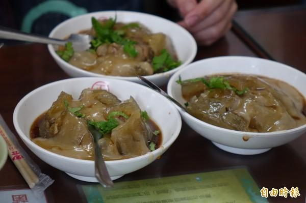 彰化市正彰化肉圓的香菇肉圓。(記者劉曉欣攝)