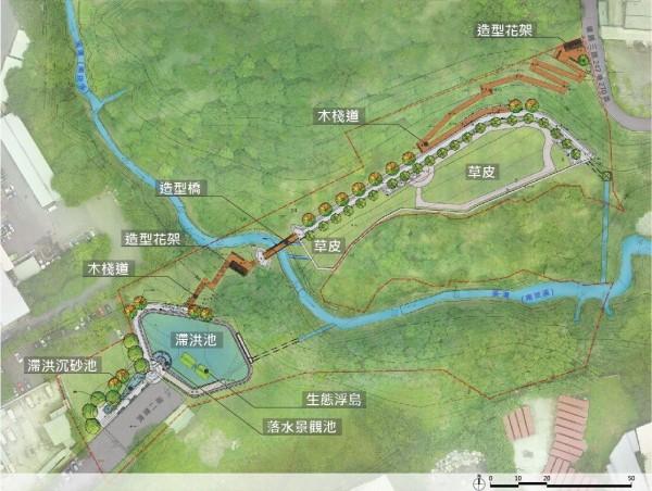 「工四工業區東側坑溝兩岸滯洪沉砂設施工程」規劃景觀步道,作為民眾休閒散步空間。(桃園市政府提供)