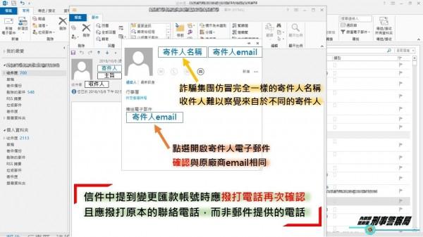 詐騙集團放長線釣大魚,竄改電子商務郵件,造成公司行號大量損失。(記者姚岳宏翻攝)